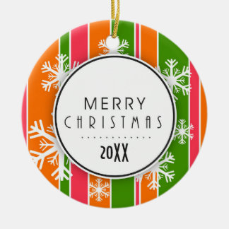 Orange & Green Merry Christmas Dated Photo Ceramic Ornament