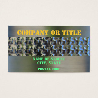Orange Green On Stainless Steel Business Card