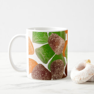 Orange green red gum candy sprinkled with sugar coffee mug