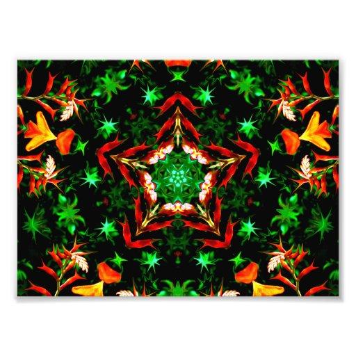 Orange Green Star Kaleidoscope Mandala Photo