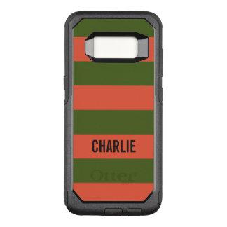 Orange & Green Stripes custom name phone cases