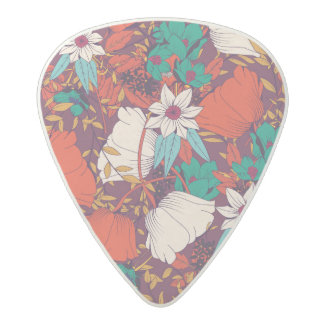 Orange green vintage flowers art pattern acetal guitar pick