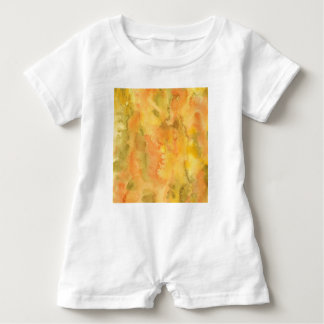 Orange Green Watercolor Baby Romper