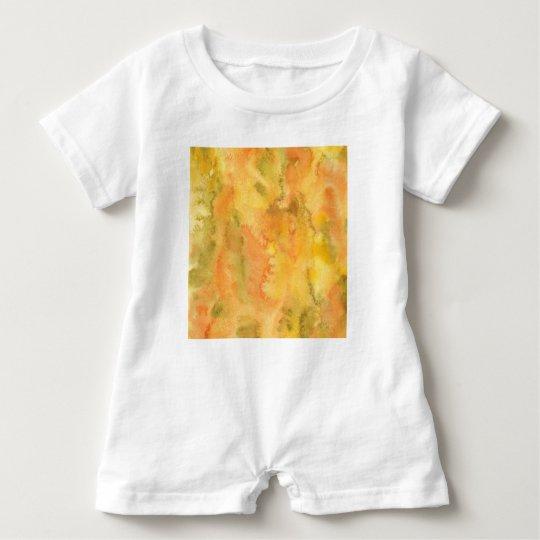 Orange Green Watercolor Baby Romper