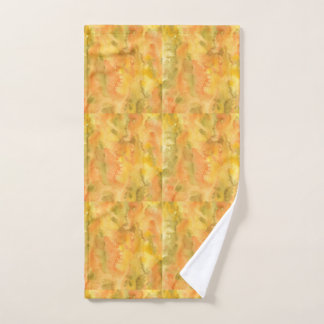 Orange Green Watercolor Hand Towel