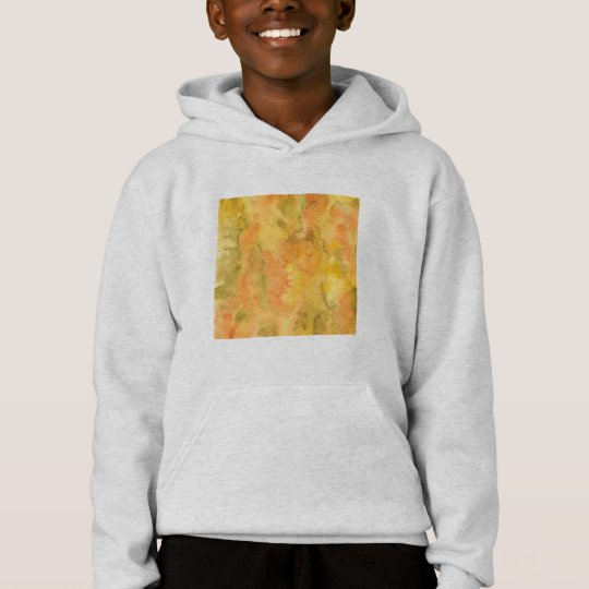 Orange Green Watercolor Kids' Hoodie