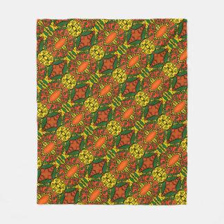 Orange Green Yellow Butterfly Pattern Fleece Blanket