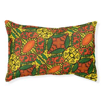 Orange Green Yellow Butterfly Pattern Pet Bed