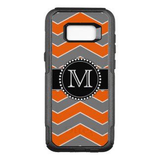 Orange, Grey, Black Chevron, Monogrammed OtterBox Commuter Samsung Galaxy S8+ Case