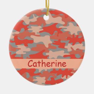 Orange Grey Camo Camouflage Name Personalized Ceramic Ornament