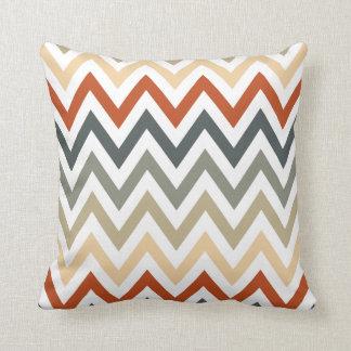 Orange Grey Chevron Geometric Designs Color Throw Pillow