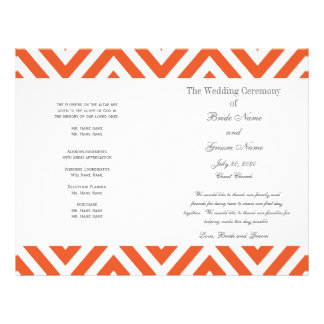 Orange Grey Chevron Modern Wedding Program
