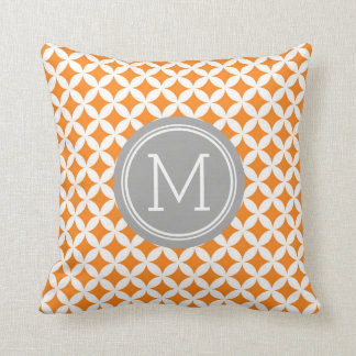 Orange Grey Circles Monogram Decorative Pillow