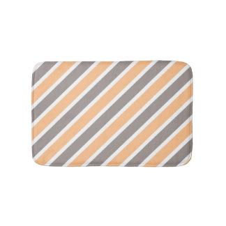 Orange Grey Diagonal Stripes Bathroom Mat