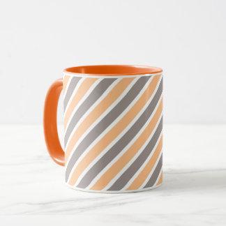 Orange Grey Diagonal Stripes Mug