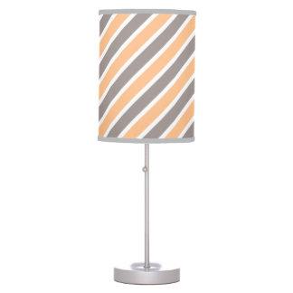 Orange Grey Diagonal Stripes Polyester Desk Lamp