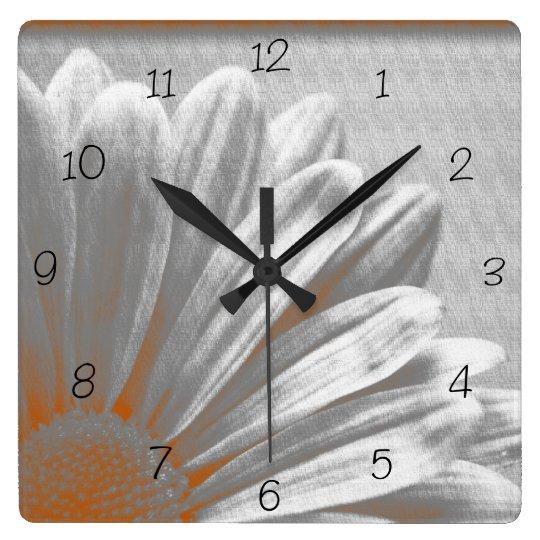 Orange Grey Floral Highlights Square Clock
