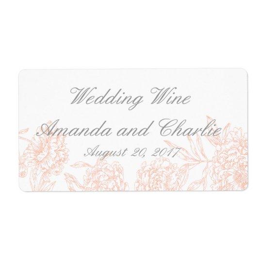 Orange Grey Floral Vintage Wedding Wine Label Shipping Label