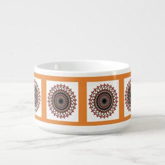 Orange Grey Geometric Spiral Design Bowl