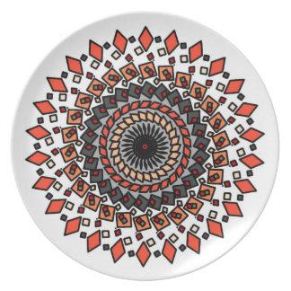 Orange Grey Geometric Spiral Design Plate