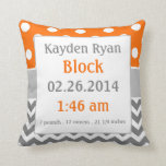 Orange Grey Personalized Baby Announcement Pillow