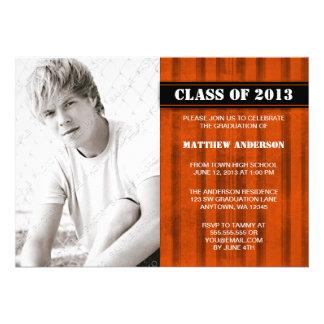 Orange Grunge Stripe Photo Graduation Announcement