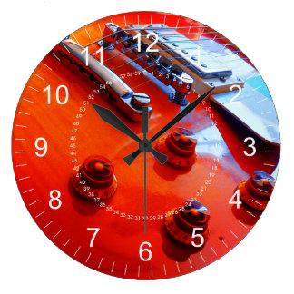 Orange Guitar Large Clock