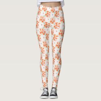 Orange gum and bees watercolor patterned leggings