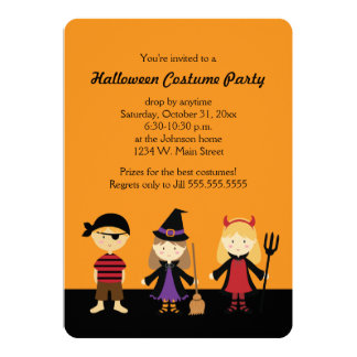 Orange Halloween Kids Costume Party Invitations
