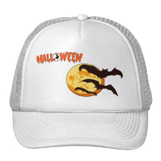 Orange Halloween Moon with Bats Mesh Hat