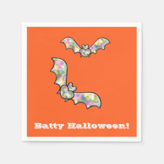 Orange Halloween Party Napkins Bat and Heart Disposable Napkin
