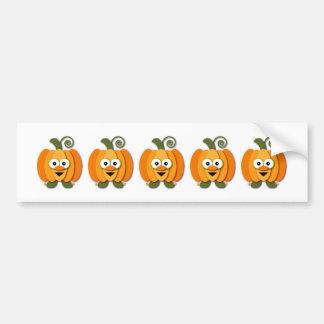 Orange Halloween Pumpkin Kawaii Cartoon Bumper Sticker