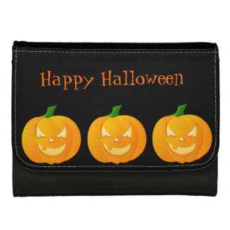 Orange Halloween Pumpkin Leather Wallet