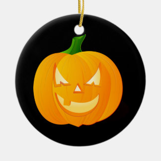Orange Halloween Pumpkin Round Ceramic Ornament