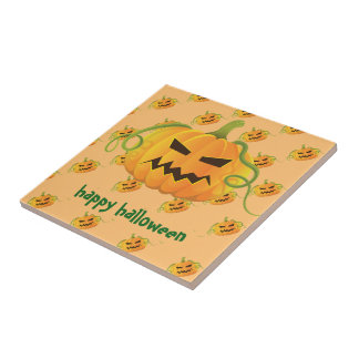 Orange Halloween Pumpkin Seamless Pattern Tile