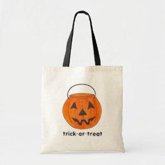 Orange Halloween Pumpkin Trick or Treating Tote Budget Tote Bag