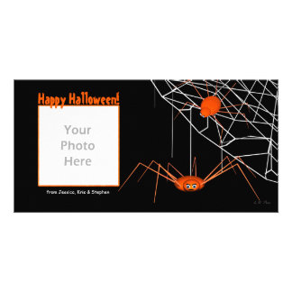 Orange Halloween Spiders Card