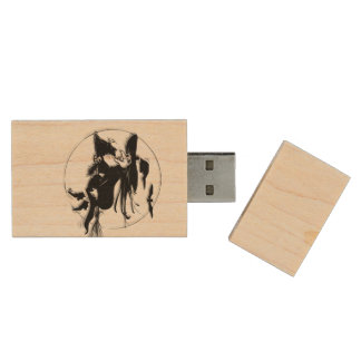 Orange Halloween Witch Wood USB Flash Drive