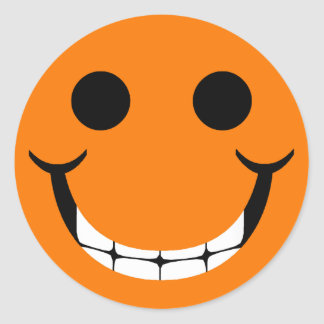ORANGE HAPPY GRIN SMILEY CLASSIC ROUND STICKER