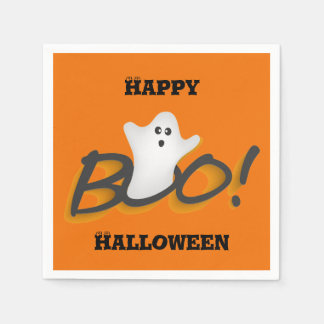 Orange Happy Halloween Cute Ghost Word BOO! Paper Napkin