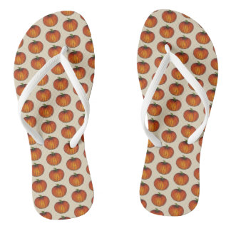 Orange Harvest Pumpkin Halloween Thanksgiving Fall Flip Flops