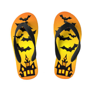 Orange Haunted House and Bats Kid's Flip Flops