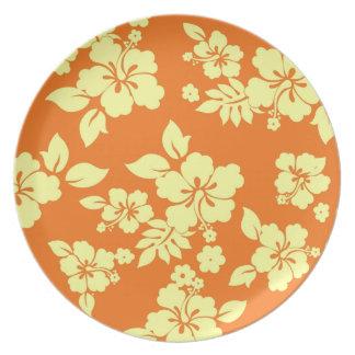Orange Hawaiian Pattern Party Plates