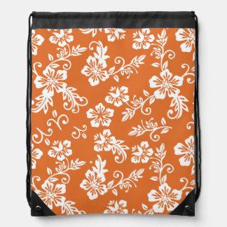 Orange Hawaiian Print Drawstring Backpack