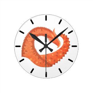 Orange heart dragon on white round clock