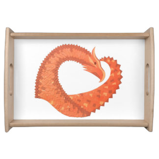 Orange heart dragon on white serving tray