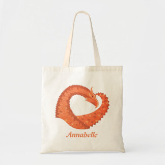 Orange heart dragon on white tote bag