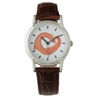 Orange heart dragon on white watch