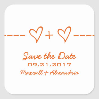 Orange Heart Equation Save the Date Stickers