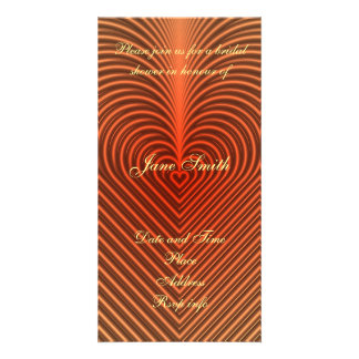 orange heart pattern photo card